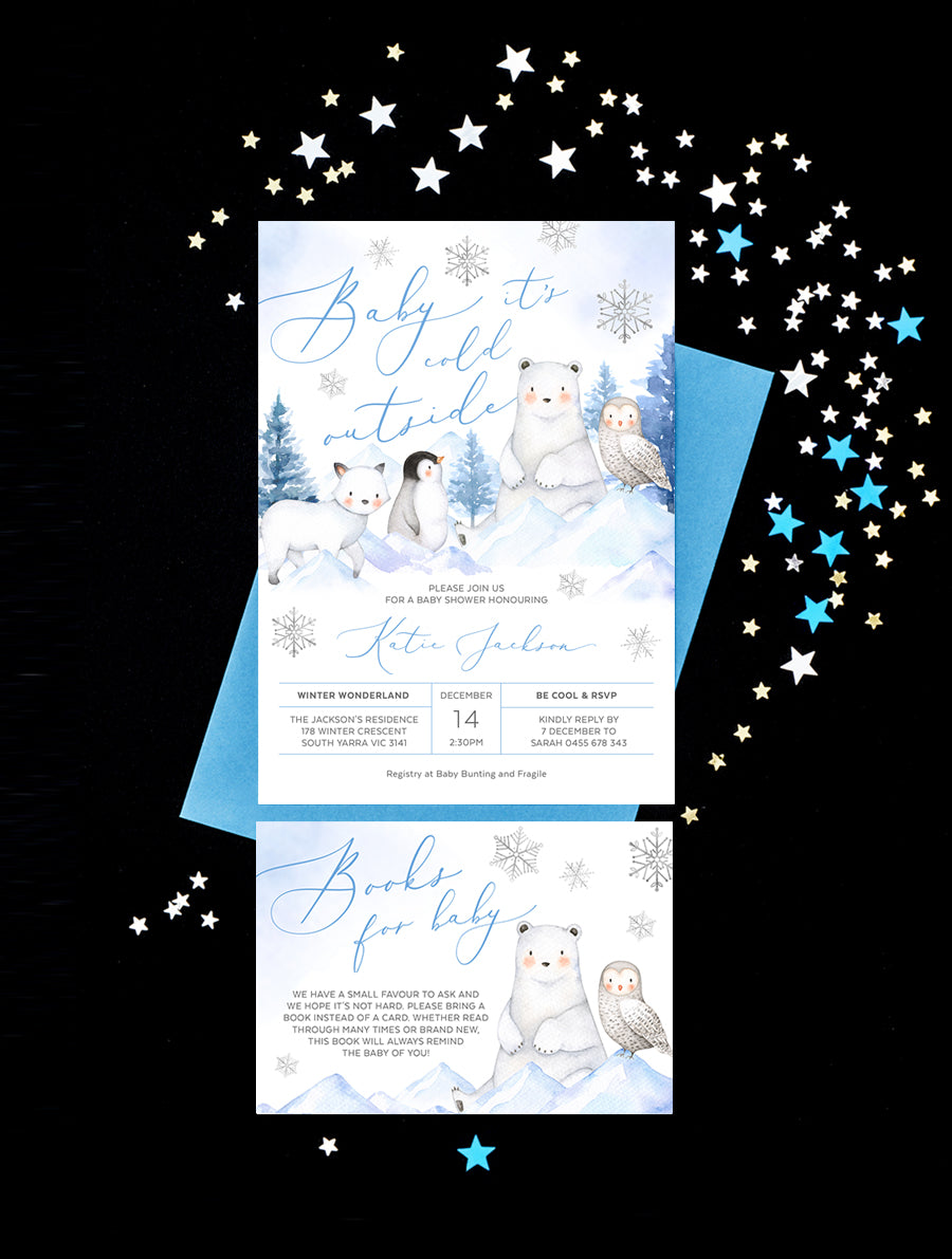 Winter Wonderland Baby Shower Invitation 2P ARCT01