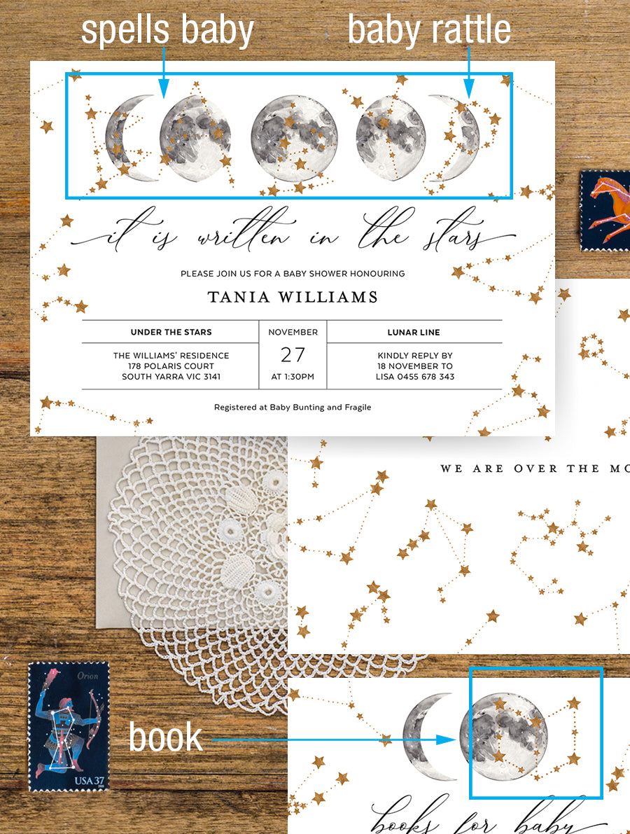 Celestial Baby Shower Invitation 2P CEL01 Grey