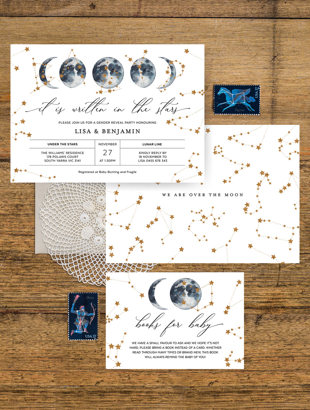 Celestial Baby Shower Invitation 2P CEL01 Navy