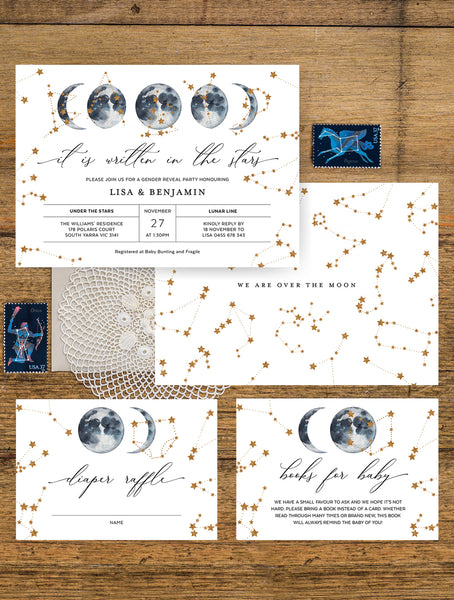 Celestial Baby Shower Invitation 3P CEL01 Navy