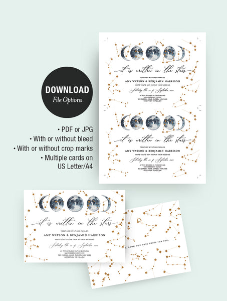 We Do Celestial Wedding Invitation Set CEL01 Navy