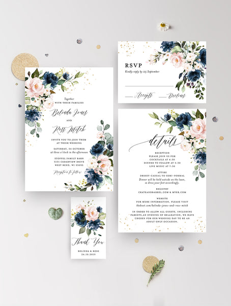 Dusty Blue Blush Floral Wedding Invitation Set #F001NB