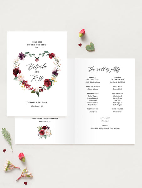 Burgundy Floral Wedding Program #F001