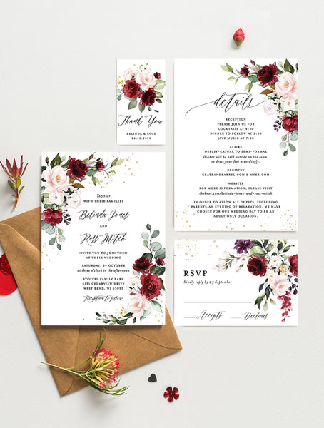 Burgundy Floral Wedding Invitation Set #F001