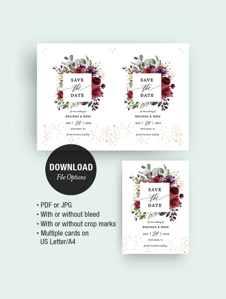 Burgundy Floral Save The Date #F001