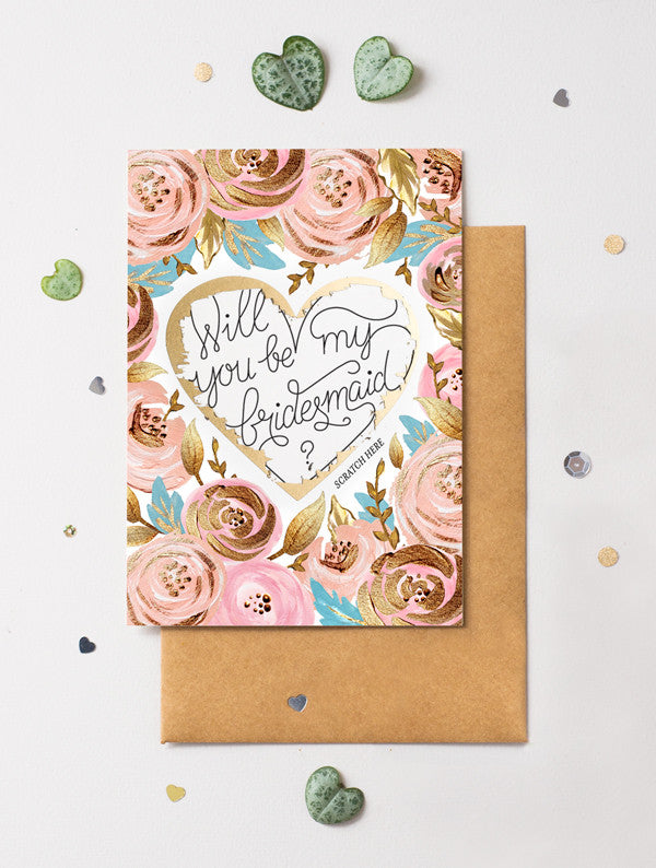 Be My Bridesmaid Scratch Off - Heart Floral 1