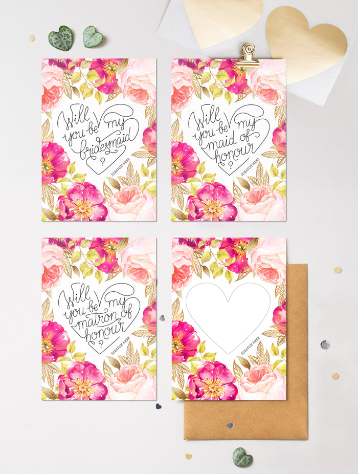 Be My Bridesmaid Scratch Off - Heart Floral 2