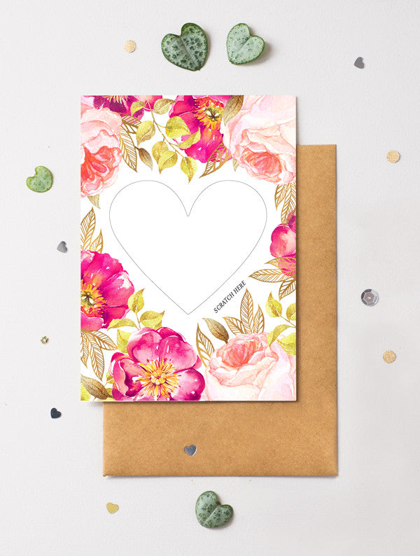 Heart Floral 2 Scratch Off Card