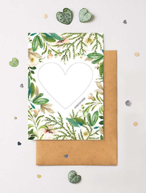 Heart Floral 20 Scratch Off Card