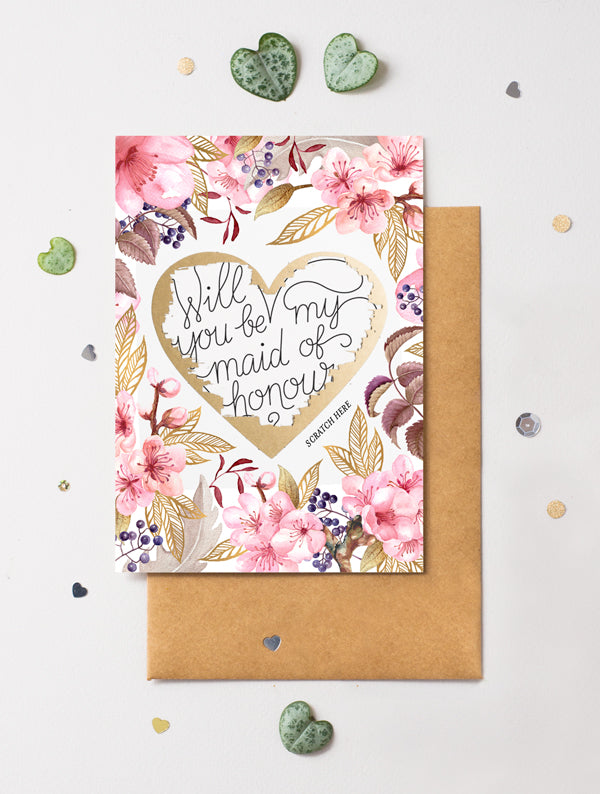 Be My Bridesmaid Scratch Off - Heart Floral 3