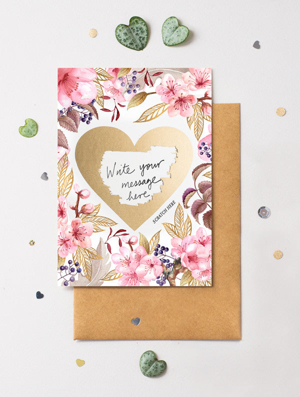 Heart Floral 3 Scratch Off Card
