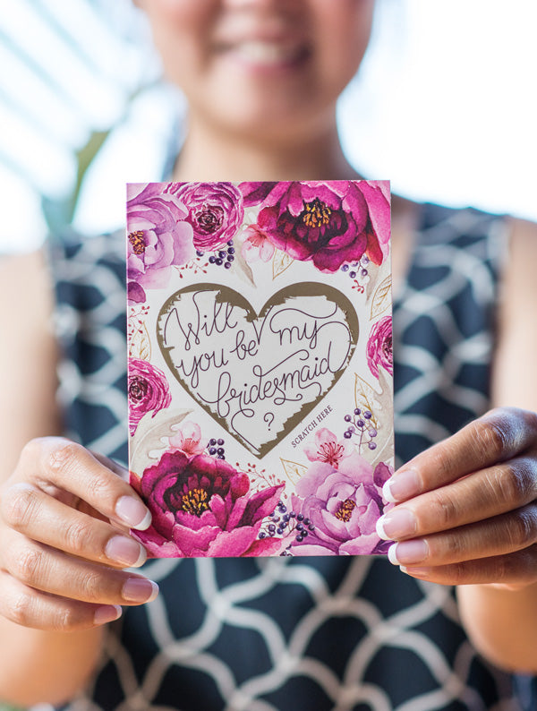 Be My Bridesmaid Scratch Off - Heart Floral 4