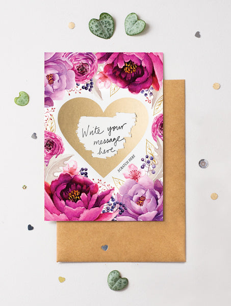 Heart Floral 4 Scratch Off Card