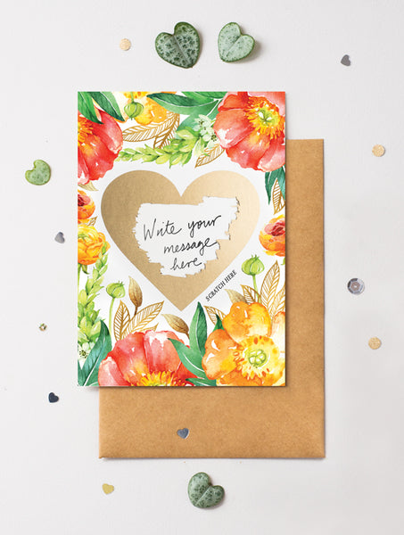 Heart Floral 6 Scratch Off Card