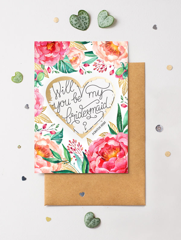 Be My Bridesmaid Scratch Off - Heart Floral 5