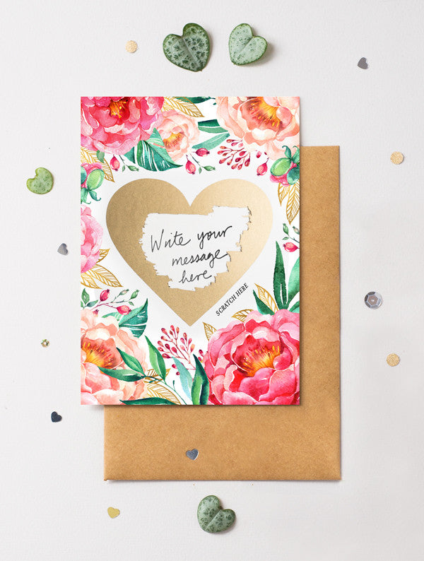 Heart Floral 5 Scratch Off Card
