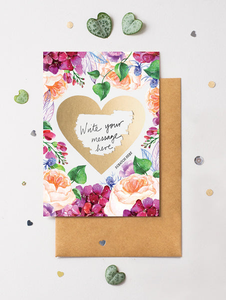 Heart Floral 7 Scratch Off Card