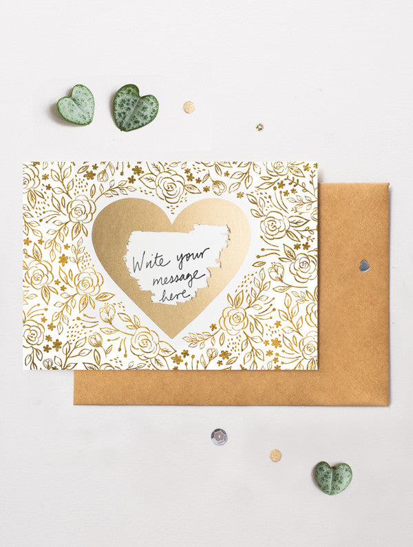 Heart Floral 8 Scratch Off Card