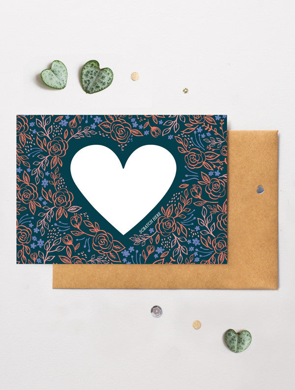 Heart Floral 9 Scratch Off Card