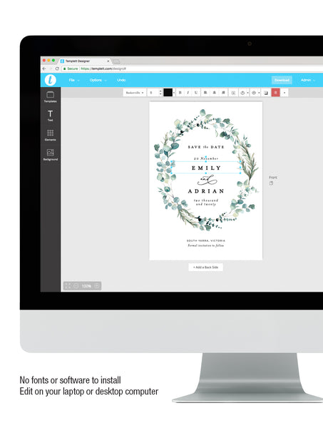 Bohemian Eucalyptus Wreath Save The Date #G004W