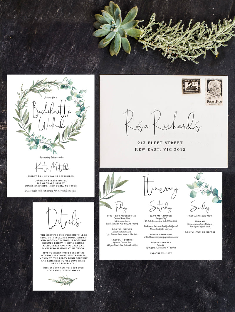 Greenery Succulent Wreath Bachelorette Weekend Invitation #G004