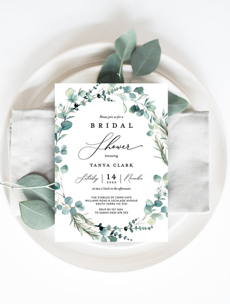 Bohemian Eucalyptus Wreath Bridal Shower Invitation #G004W