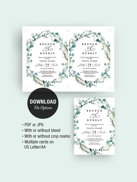 Bohemian Eucalyptus Wreath Brunch And Bubbly Invitation #G004W