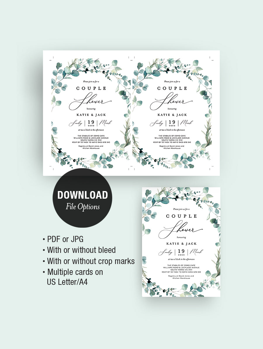 Bohemian Eucalyptus Wreath CoupleS Shower Invitation #G004W