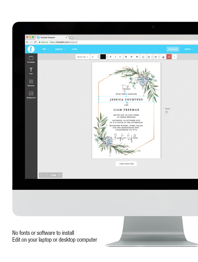 Greenery Succulents Wedding Invitation #G004