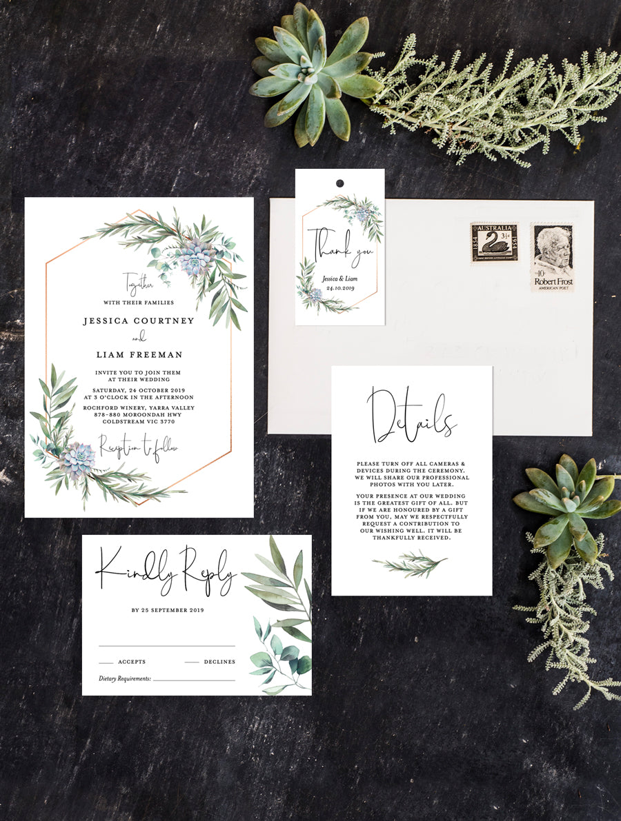 Greenery Succulents Wedding Invitation Set #G004