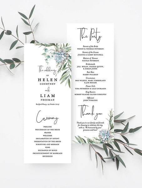 Greenery Succulents Wedding Program #G004