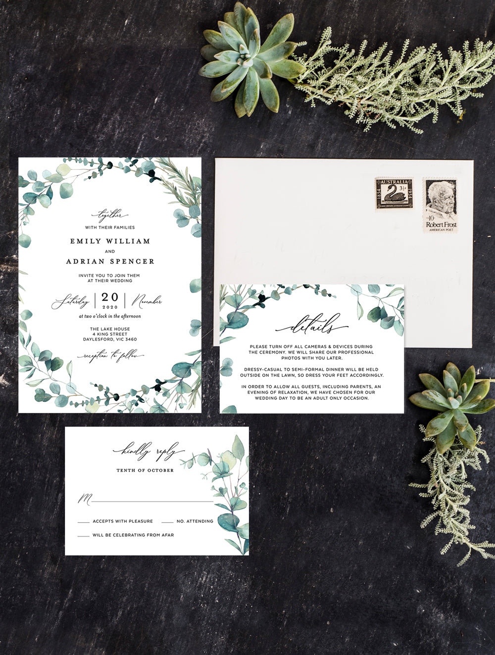 Bohemian Eucalyptus Wreath Wedding Invitation Set #G004W