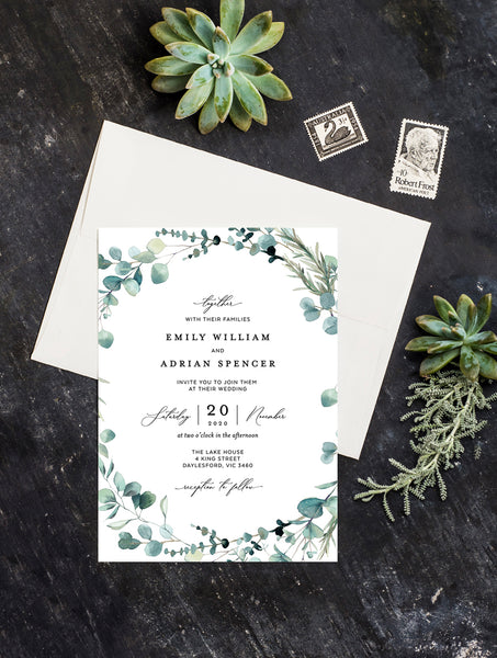 Bohemian Eucalyptus Wreath Wedding Invitation #G004W