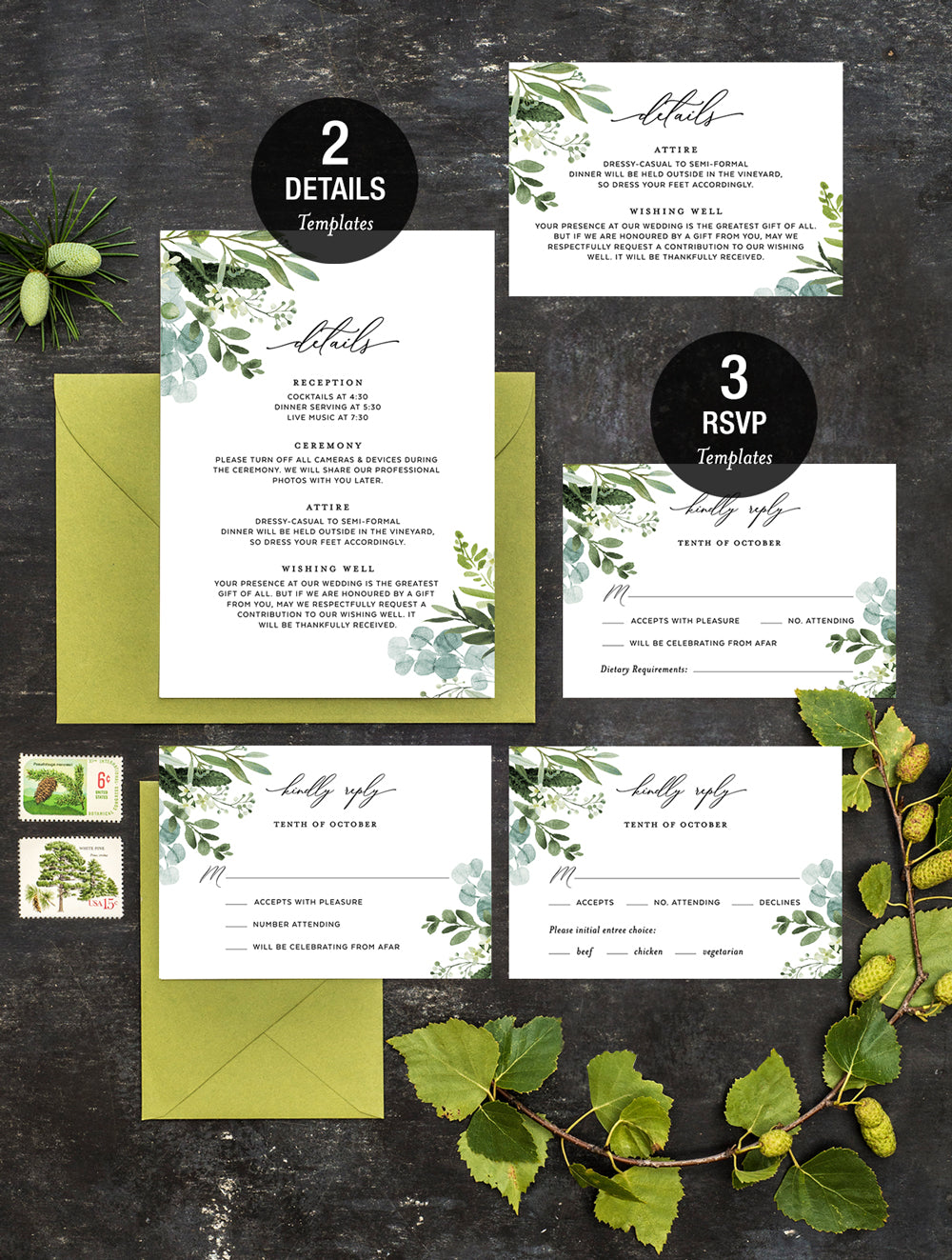 Greenery Wedding Invitation Set #G007
