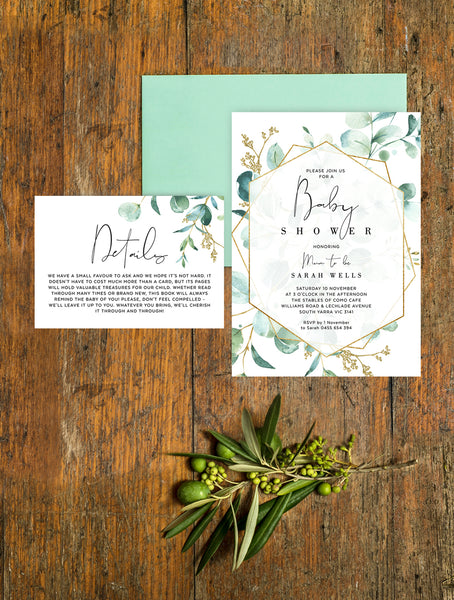 Geometric Greenery Baby Shower Invitation 2P G008