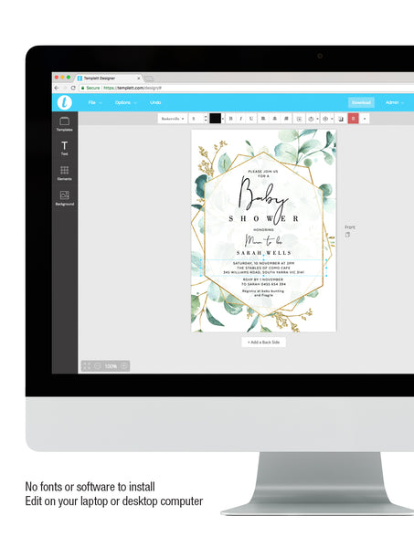 Geometric Greenery Baby Shower Invitation 3P G008