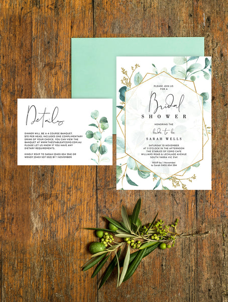 Geometric Greenery Bridal Shower Invitation #G008
