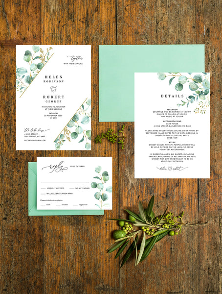 Bohemian Eucalyptus Greenery Wedding Invitation Set #G008