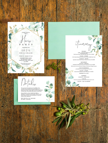 Geometric Greenery Hens Weekend Invitation #G008