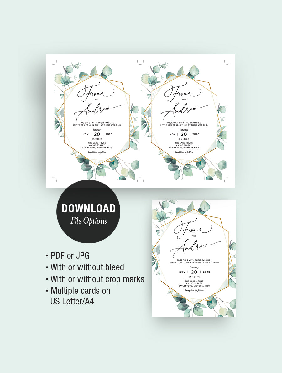 Geometric Eucalyptus Wedding Invitation Set #G010