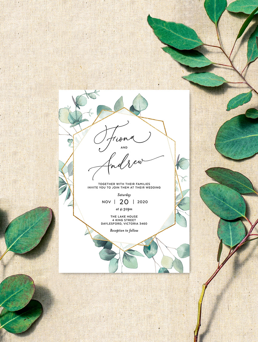Geometric Eucalyptus Invitation #G010