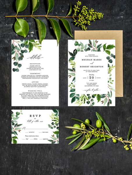 Greenery Leaves Wedding Invitation Set #G012