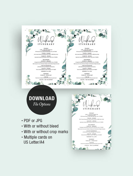 Bohemian Eucalyptus Wreath Bachelorette Party Invitation #G004W