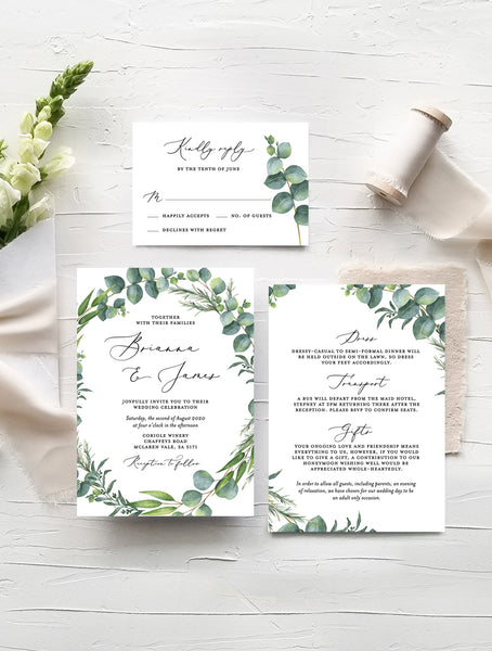 Eucalyptus Wreath Wedding Invitation Set #G014