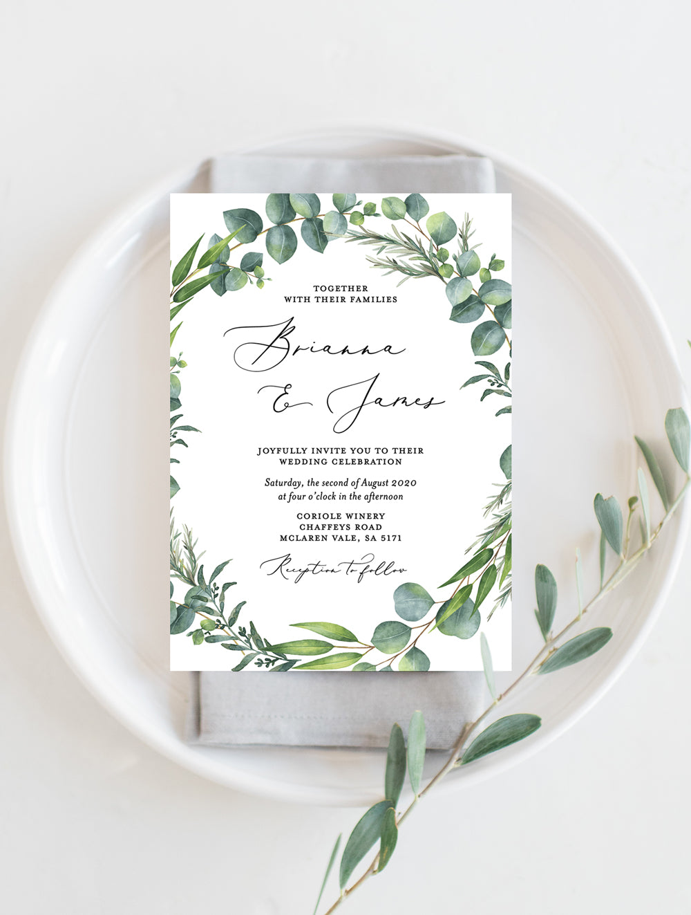 Eucalyptus Wreath Wedding Invitation #G014