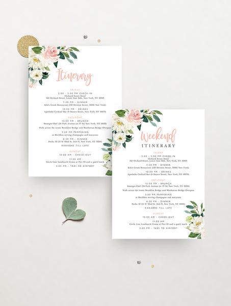 Blush Floral Greenery Itinerary #GB04