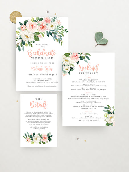 Blush Floral Greenery Bachelorette Party Invitation #GB04