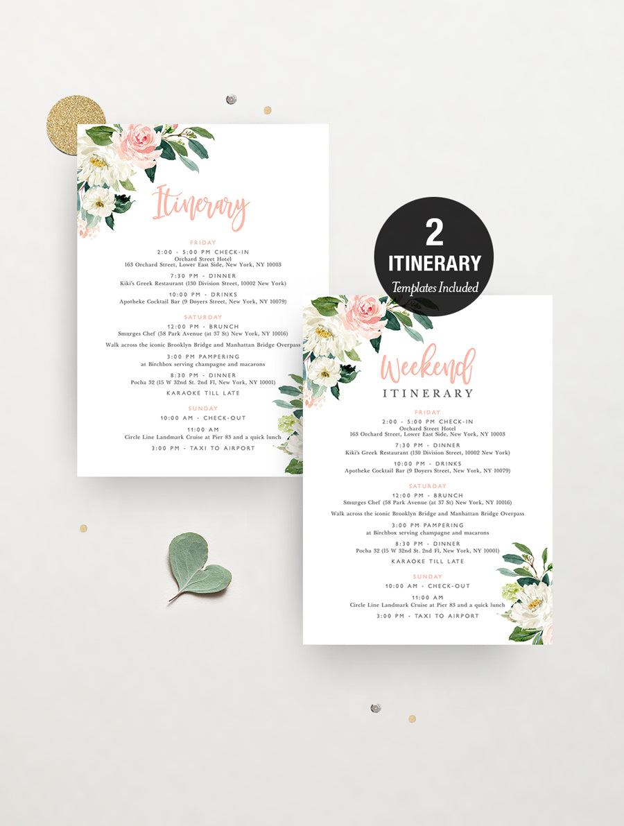 Blush Floral Greenery Hens Party Invitation #GB04