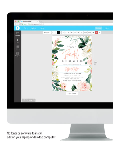 Blush Floral Greenery Bridal Shower Invitation #GB04 02