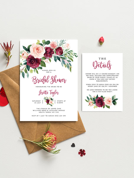 Burgundy Blush Greenery Bridal Shower Invitation #GB04burg